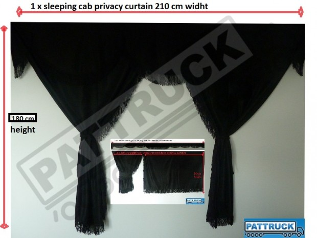 TRUCK CURTAINS FULL SET- BLACK WITH BLUE STRINGS FIT SCANIA TOPLINE