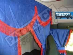 TRUCK CURTAINS FULL SET- BLUE WITH RED STRINGS FIT SCANIA TOPLINE