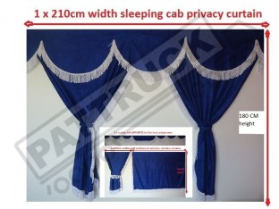 TRUCK CURTAINS FULL SET- BLUE WITH WHITE STRINGS FIT SCANIA TOPLINE
