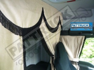 TRUCK CURTAINS FULL SET- BEIGE WITH BLACK STRINGS FIT SCANIA TOPLINE