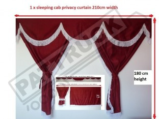 TRUCK CURTAINS FULL SET- BURGUNDY WITH WHITE STRINGS FIT SCANIA TOPLINE