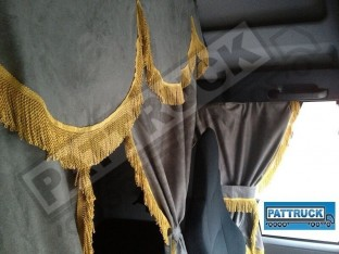 TRUCK CURTAINS FULL SET- GREY WITH GOLD STRINGS FIT SCANIA TOPLINE