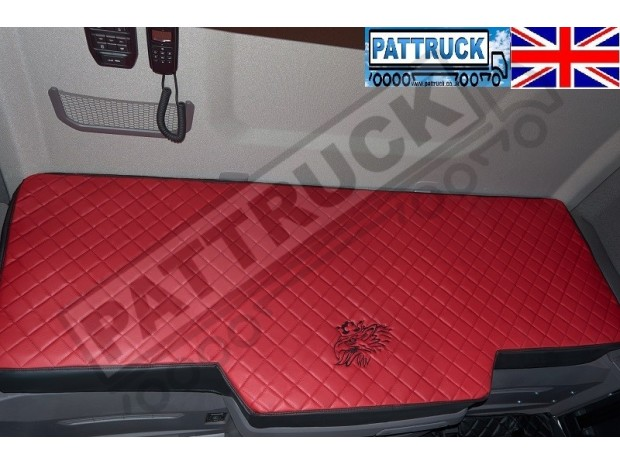 TRUCK BED COVER FIT SCANIA R & S 2017+ [NEW GENERATION] ECO LEATHER BLACK-RED STITCHES