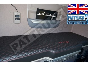 TRUCK ECO LEATHER BED COVER FIT DAF XF 106-BLACK WITH RED STITCHES