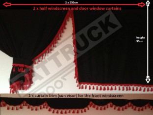 TRUCK SIDE CURTAINS - BLACK AND RED TASSELS FIT MERCEDES,MAN,DAF,VOLVO,SCANIA,IVECO,RENAULT
