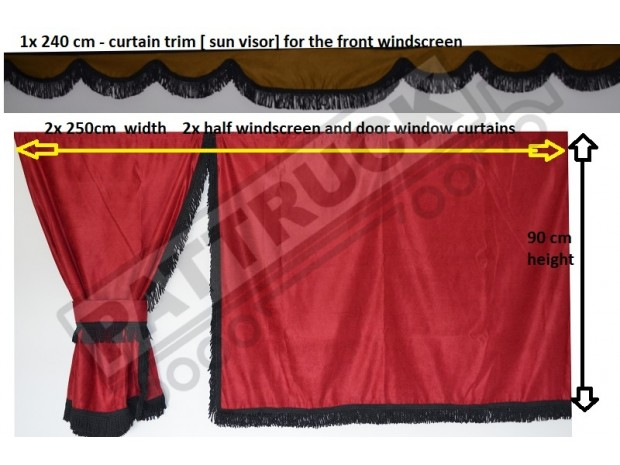 TRUCK SIDE CURTAINS - RED WITH BLACK STRINGS FIT MERCEDES,MAN,DAF,VOLVO,SCANIA,IVECO,RENAULT