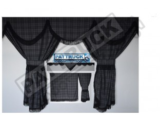 SCANIA TOPLINE TARTAN CURTAINS FULL SET GREY & BLACK STRINGS