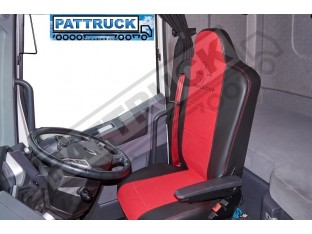 FIT RENAULT T RANGE TRUCK HALF ECO LEATHER SEAT COVERS PAIR OF BLACK / RED