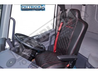 FIT RENAULT T RANGE TRUCK ECO LEATHER SEAT COVERS PAIR OF BLACK WITH RED STITCHES