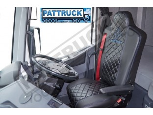 FIT RENAULT T RANGE TRUCK ECO LEATHER SEAT COVERS PAIR OF BLACK WITH BLUE STITCHES