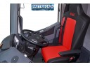 FIT RENAULT T RANGE TRUCK ECO LEATHER SEAT COVERS PAIR OF BLACK & RED