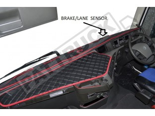 TRUCK ECO LEATHER DASH MAT WITH SPACE FOR SENSOR FIT VOLVO FH4 2013+ [ BLACK ]