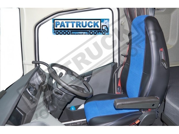 TRUCK ECO LEATHER SEAT COVERS FIT DAF XF 106 / CF EURO 6 PAIR OF BLUE AND BEIGE
