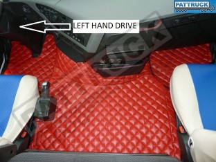 TRUCK ECO LEATHER FLOOR SET- COMPATIBLE WITH VOLVO FH 4 2013+[TWIN AIR SEATS] RED - LEFT HAND DRIVE
