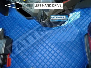 TRUCK ECO LEATHER FLOOR SET- COMPATIBLE WITH VOLVO FH 4 2013+[TWIN AIR SEATS] BLUE - LEFT HAND DRIVE