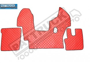 DAF CF EURO-6 MANUAL - TRUCK ECO LEATHER FLOOR MATS SET-RED