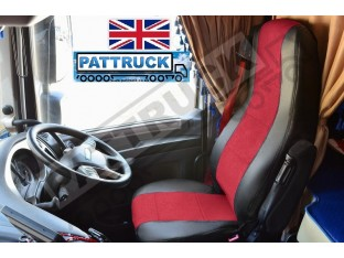 TRUCK HALF ECO LEATHER SEAT COVERS FIT DAF XF 106 CF EURO 6 PAIR OF BLACK / RED