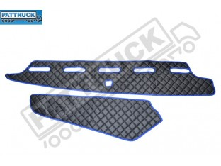 TRUCK ECO LEATHER DASH MAT-BLACK WITH RED TRIM COMPATIBLE WITH VOLVO FH4 2013+