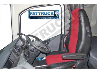 TRUCK HALF ECO LEATHER SEAT COVERS COMPATIBLE WITH VOLVO FH4 2013+ (BLACK AND RED))