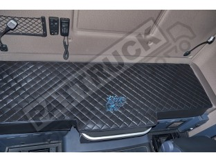 TRUCK BED COVER FIT SCANIA R STREAMLINE 2013-2017 ECO LEATHER BLACK-BLUE STITCHES