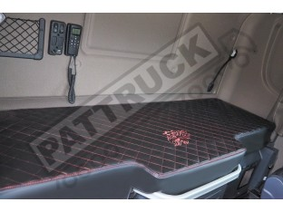 TRUCK BED COVER FIT SCANIA R STREAMLINE 2013-2017 ECO LEATHER BLACK-RED STITCHES