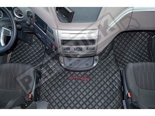 DAF XF 106 AUTOMATIC AFTER 67 PLATE- TRUCK ECO LEATHER FLOOR SET-BLACK WITH RED SIGN DAF