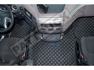 DAF XF 106 AUTOMATIC AFTER 67 PLATE- TRUCK ECO LEATHER FLOOR SET-BLACK WITH BLUE SIGN DAF