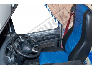 TRUCK ECO LEATHER SEAT COVERS FIT DAF XF 106 / CF EURO 6 PAIR OF BLACK AND BLUE