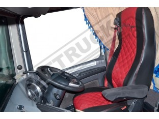 TRUCK ECO LEATHER SEAT COVERS FIT DAF XF 106 / CF EURO 6 PAIR OF BLACK AND RED