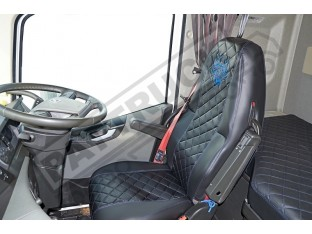 TRUCK ECO LEATHER SEAT COVERS COMPATIBLE WITH VOLVO FH4 2013+ BLACK WITH RED STITCHES