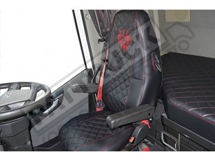 TRUCK SEAT COVERS COMPATIBLE WITH VOLVO FH4 2013+ ( ECO LEATHER) BLACK WITH RED STITCHES