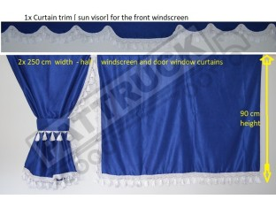 TRUCK SIDE CURTAINS - BLUE AND WHITE TASSELS FIT MERCEDES,MAN,DAF,VOLVO,SCANIA,IVECO,RENAULT