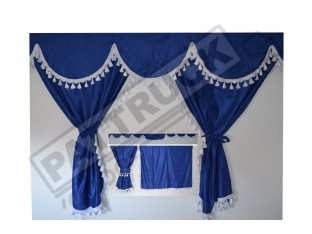 TRUCK CURTAINS FULL SET - BLUE WITH WHITE TASSELS FIT DAF SCANIA VOLVO MAN MERCEDES IVECO RENAULT