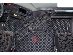 ECO LEATHER FLOOR MAT -BLACK FIT SCANIA S New Generation [ 2017+ ] FLIP PASSENGER SEAT