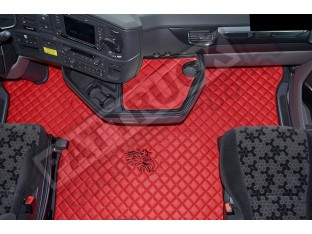 ECO LEATHER FLOOR MAT -RED FIT SCANIA S New Generation [ 2017+ ] SWIVEL/AIR PASSENGER SEAT- LEFT HAND DRIVE