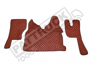 TRUCK ECO LEATHER FLOOR SET-BLACK, COMPATIBLE WITH VOLVO FH 2013+AUTOMATIC-FOLDING PASSENGER SEAT