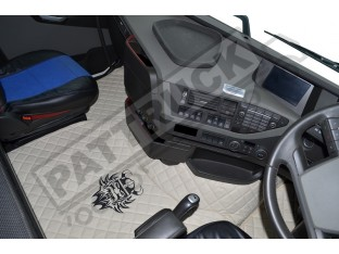 TRUCK ECO LEATHER FLOOR SET-BLACK, COMPATIBLE WITH VOLVO FH4 2013+AUTOMATIC- TWIN AIR SEATS