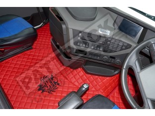 TRUCK ECO LEATHER FLOOR SET-BEIGE WITH BLACK VIKING LOGO FIT WITH VOLVO FH4 2013+ [ TWIN AIR SEATS]