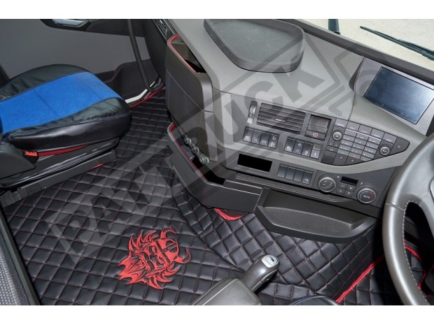 TRUCK ECO LEATHER FLOOR SET-BLACK WITH RED VIKING LOGO FIT VOLVO FH4 2013+[ AUTOMATIC ]-FOLDING PASSENGER SEAT