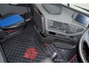 TRUCK ECO LEATHER FLOOR SET-BLACK WITH RED VIKING LOGO FIT VOLVO FH4 2013+[ AUTOMATIC ]- TWIN AIR SEATS