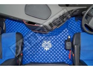 TRUCK ECO LEATHER FLOOR SET-BLUE WITH WHITE VIKING LOGO FIT VOLVO FH4 2013+ [ FOLDING PASSENGER SEAT]