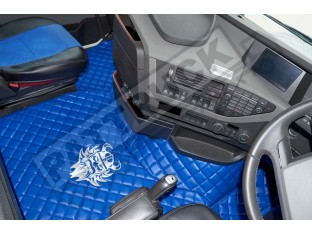 TRUCK ECO LEATHER FLOOR SET-BLUE WITH WHITE VIKING LOGO FIT VOLVO FH4 2013+ [ TWIN AIR SEATS]