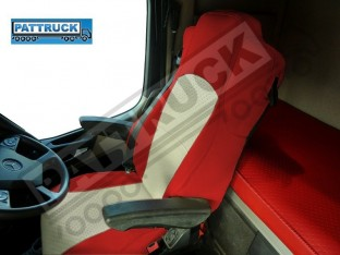 TRUCK ECO LEATHER SEAT COVERS FIT MERCEDES ACTROS MP4 PAIR OF RED AND BLUE