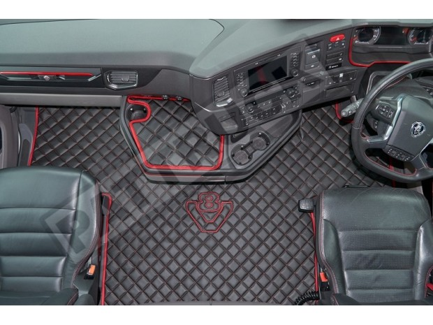 ECO LEATHER FLOOR MAT -BLACK FIT SCANIA S New Generation [ 2017+ ] SWIVEL/AIR PASSENGER SEAT