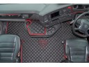 ECO LEATHER FLOOR MAT -BLACK /RED FIT SCANIA S New Generation [ 2017+ ] SWIVEL/AIR PASSENGER SEAT