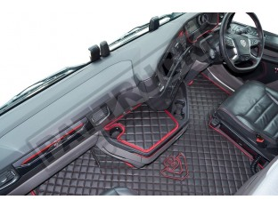 ECO LEATHER FLOOR MAT -BLACK/RED [ V8] FIT SCANIA S New Generation [ 2017+ ] FLIP PASSENGER SEAT