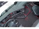 ECO LEATHER FLOOR MAT -BLACK/RED LOGO [ V8] FIT SCANIA S New Generation [ 2017+ ] SWIVEL/AIR PASSENGER SEAT- LEFT HAND DRIVE