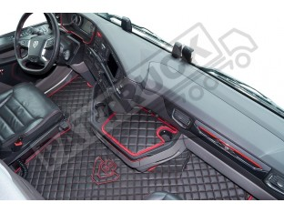 ECO LEATHER FLOOR MAT -BLACK/RED LOGO [ V8] FIT SCANIA S New Generation [ 2017+ ] FLIP PASSENGER SEAT- LEFT HAND DRIVE