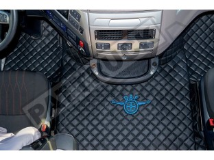 TRUCK ECO LEATHER FLOOR MATS SET FIT DAF XF 106 AUTOMATIC AFTER 67 PLATE -BLACK WITH BLUE SIGN DAF