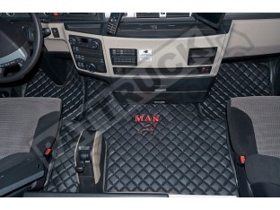 MAN TGX TRUCK ECO LEATHER FLOOR SET-BLACK/RED LOGO - AFTER 67 PLATE - LEFT HAND DRIVE
